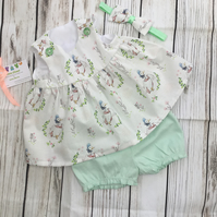 Baby girl top and bloomers, Gemma Puddleduck, baby gift, headband, 6 months
