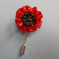 Small RED FIELD POPPY PIN Remembrance Lapel Flower Brooch HANDMADE HAND PAINTED