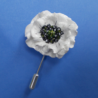 WHITE PEACE POPPY PIN Remembrance Peace Lapel Flower Pin HANDMADE HAND PAINTED