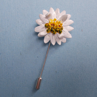 White Wild MARGUERITE DAISY PIN Wedding Lapel Flower Brooch HANDMADE HANDPAINTED