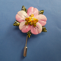 PINK APPLE BLOSSOM FLOWER PIN Wedding Lapel Flower Brooch HANDMADE HAND PAINTED