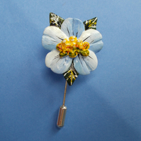 Pastel BLUE BLOSSOM FLOWER PIN Wedding Lapel Flower Brooch HANDMADE HAND PAINTED