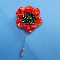 Single RED Clay POPPY PIN Remembrance Lapel Flower Brooch HANDMADE HAND PAINTED