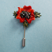 Single 3D RED POPPY & LEAVES PIN Remembrance Flower Brooch HANDMADE HAND PAINTED
