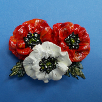 Dramatic RED & WHITE POPPY BROOCH Wedding Lapel Flower Pin HANDMADE HANDPAINTED