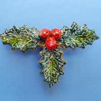 HANDMADE & PAINTED Large Christmas, HOLLY & BERRIES BROOCH, Pin,Corsage,Weddings