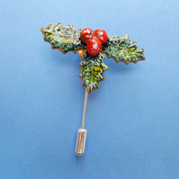 HANDMADE & PAINTED Small,Christmas,HOLLY & RED BERRIES PIN,Brooch,Corsage,Lapel