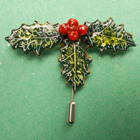 HANDMADE & PAINTED Christmas,HOLLY & RED BERRIES PIN,Brooch,Corsage,Lapel Pin