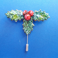 Chistmas HOLLY & RED BERRIES PIN Festive Lapel Pin Brooch HANDMADE HAND PAINTED