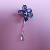 Delicate Sweet VIOLET PIN Viola Wedding Lapel Flower Brooch HANDMADE HANDPAINTED