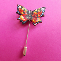 Small Clay RED ADMIRAL BUTTERFLY PIN Wedding Lapel Brooch HANDMADE HAND PAINTED