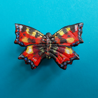 Delicate RED ADMIRAL BUTTERFLY BROOCH Wedding Lapel Pin HANDMADE HAND PAINTED
