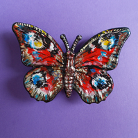 Delicate RED PEACOCK BUTTERFLY BROOCH Wedding Corsage Lapel Pin HAND PAINTED