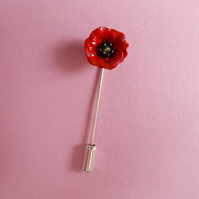 TINY RED FIELD POPPY PIN Wedding Corsage Lapel Flower Pin Brooch HAND PAINTED