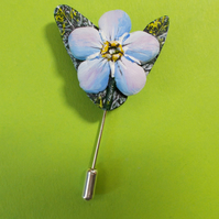 FORGET-ME-NOT PIN LoveToken Wedding Lapel Flower Brooch HANDMADE HANDPAINTED