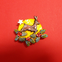 CHRISTMAS MOONLIGHT REINDEER & HOLLY BROOCH Festive Lapel HANDMADE HANDPAINTED