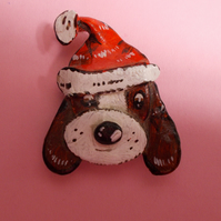 Cute FATHER CHRISTMAS DOG BROOCH Festive Lapel Pin HANDMADE HAND PAINTED