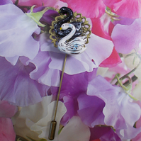 BLACK & WHITE SWAN PIN on Bronze Tone Filigree Lapel Pin Wildlife HAND PAINTED