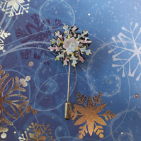 Winter SNOW FLAKE PIN Frozen Flower Wedding Lapel Brooch HANDMADE HAND PAINTED