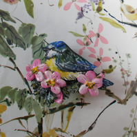 BLUE TIT & PINK FLOWERS BROOCH Garden Bird Lapel Flower Pin HANDMADE HANDPAINTED