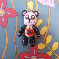 Cute Quirky PANDA POPPY BROOCH 3D Floral Animal Wedding Corsage Pin HAND PAINTED