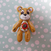 Cute TEDDY BEAR POPPY BROOCH 3D Floral Animal Wedding Corsage Pin HAND PAINTED