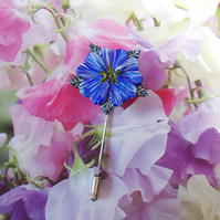 Pretty BLUE ALPINE FLOWER PIN Wedding Lapel Flower Brooch HANDMADE HAND PAINTED