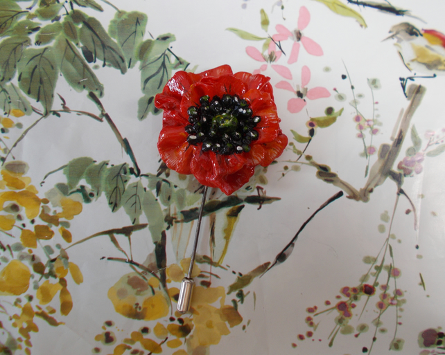 Festive RED POPPY PIN Clay Remembrance Lapel Flower Brooch HANDMADE HAND PAINTED