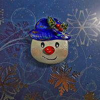 Christmas SNOWMAN IN HOLLY HAT BROOCH Festive Lapel Pin HANDMADE HAND PAINTED