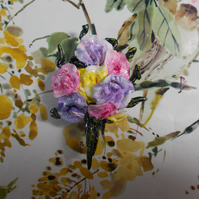 SWEETPEA BROOCH Mauve Pink & Yellow Wedding Lapel Flower HANDMADE HAND PAINTED