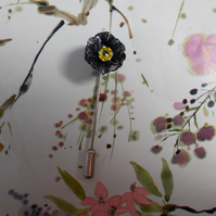 TINY BLACK POPPY PIN Floral Wedding Corsage Lapel Flower Pin Brooch HAND PAINTED