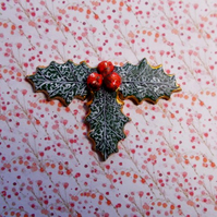 Christmas HOLLY & RED BERRIES BROOCH Festive Wedding Pin HANDMADE HAND PAINTED