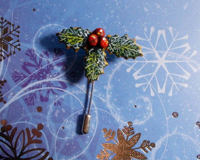 Small Chistmas HOLLY & RED BERRIES PIN Festive Lapel Pin HANDMADE HAND PAINTED