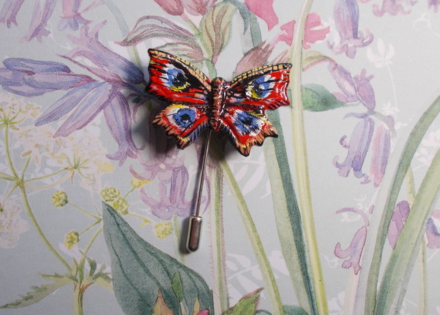 Delicate PEACOCK BUTTERFLY PIN Wedding Pin Wildlife Brooch HANDMADE HAND PAINTED