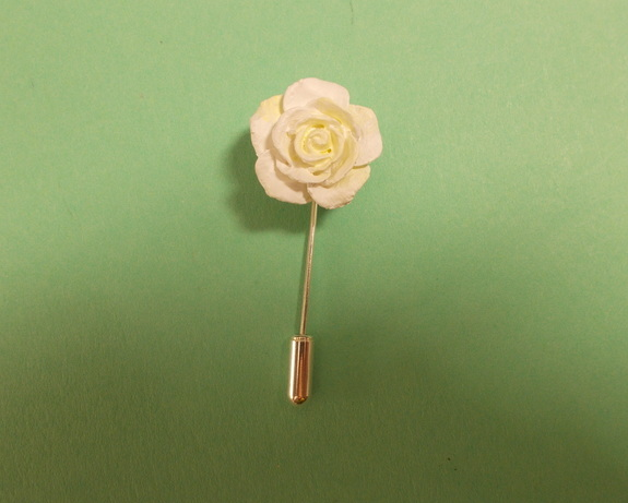 Small Delicate WHITE ROSE PIN Wedding Lapel Flower Pin Love Token HAND PAINTED