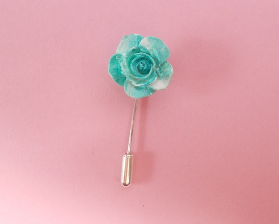 Small Delicate TURQUOISE ROSE PIN Wedding Lapel Flower Love Token HAND PAINTED
