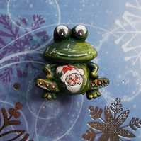 FATHER CHRISTMAS FROG BROOCH Festive Fun Santa Lapel Pin HANDMADE HAND PAINTED