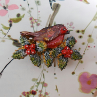 CHRISTMAS ROBIN & HOLLY BROOCH Festive Garden Bird Lapel HANDMADE HANDPAINTED