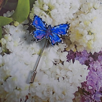 Small COMMON BLUE BUTTERFLY PIN Clay Wedding Lapel Brooch HANDMADE HAND PAINTED
