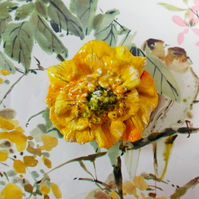 YELLOW WELSH POPPY BROOCH Wales Wedding Corsage Lapel Pin HANDMADE HAND PAINTED