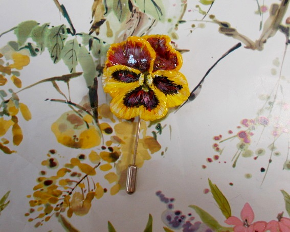 YELLOW PANSY PIN Viola 3D Clay Remembrance Lapel Flower Pin HANDMADE HANDPAINTED