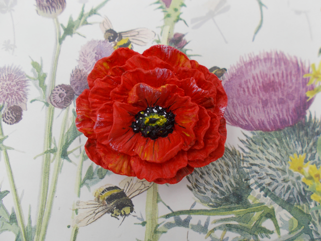 Large RED POPPY BROOCH Commemorative Remembrance Lapel Flower Pin HAND PAINTED