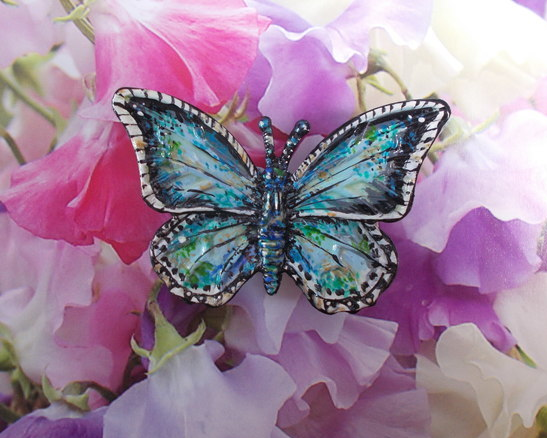 Delicate CHALKHILL BLUE BUTTERFLY BROOCH Wedding Corsage Lapel Pin HAND PAINTED