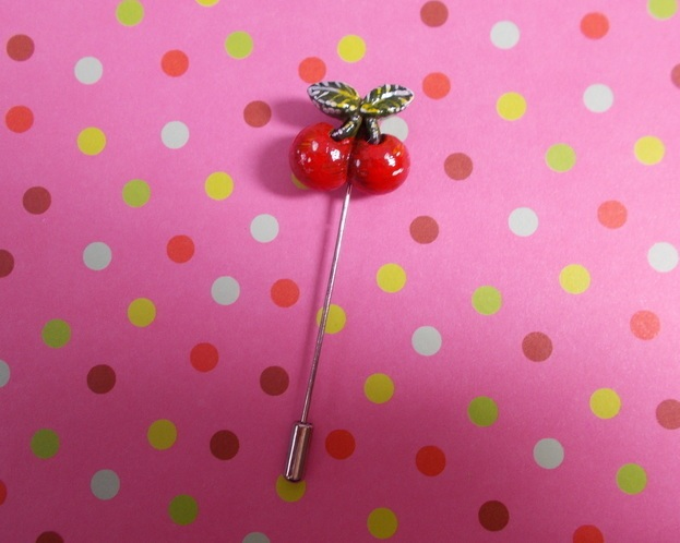 Small Red CHERRY PIN Wedding Boutonniere Summer Fruit Lapel Brooch HAND PAINTED