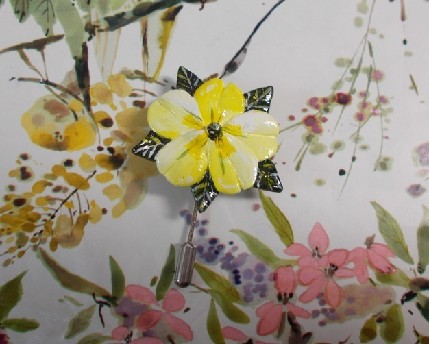 Spring Yellow PRIMROSE PIN Wedding Lapel Flower Brooch Pin HANDMADE HAND PAINTED