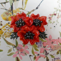 3 RED POPPIES BROOCH Remembrance Wedding Lapel Flower Pin HANDMADE HAND PAINTED
