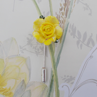 Small Delicate YELLOW ROSE PIN Wedding Lapel Flower Love Token Pin HAND PAINTED