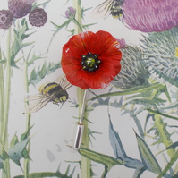 RED FIELD POPPY PIN Wedding Corsage Remembrance Lapel Flower Brooch HAND PAINTED