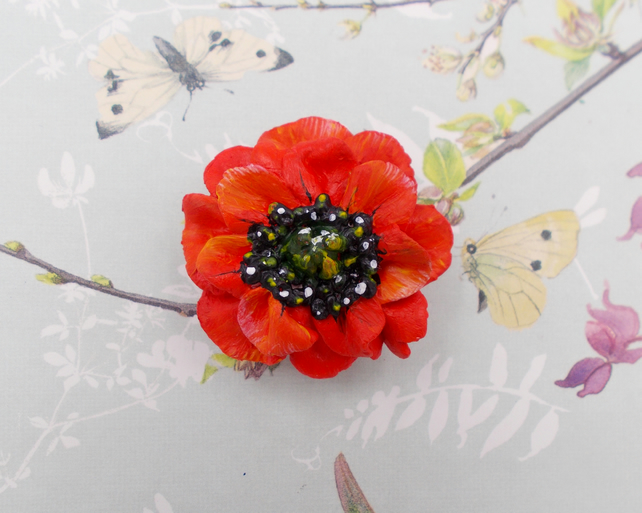 Stunning 3D Red POPPY BROOCH Remembrance Lapel Flower Pin HANDMADE HAND  PAINTED