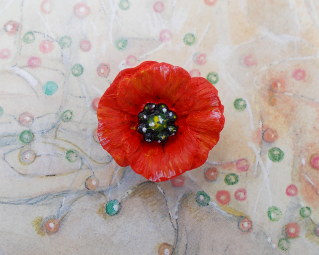 RED FIELD POPPY BROOCH Wedding Corsage Remembrance Lapel Flower Pin HAND PAINTED